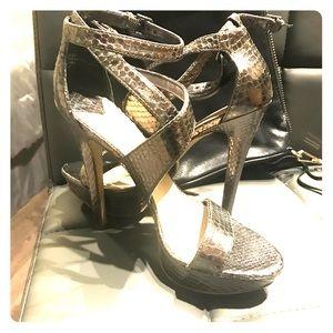 Nine West silver snake print strappy heels